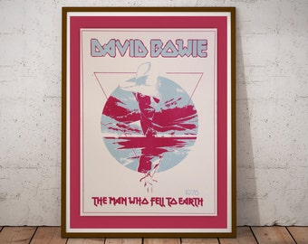 DAVID BOWIE - The Man Who Fell To Earth Vintage 12 x 18 Handprinted Silkscreen Tribute Art Print