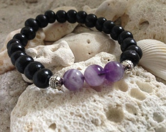 Amethyst with black wood beads and Tibetan silver accents 4849