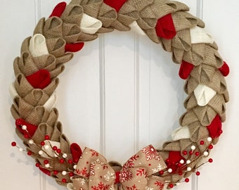 Rustic Holiday Burlap Petal Wreath