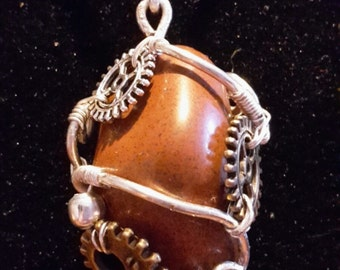 wire wrapped pendant aventurine steampunk