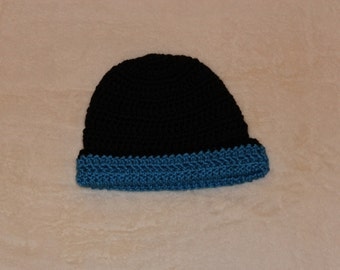 Crochet Black Hat with Blue Trim, Black and Blue Winter Hat, Blue Energy Hat