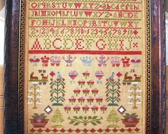 Isabella Wood Reproduction Sampler by Lindsat Lane Designs Counted Cross Stitch Pattern/Chart