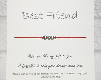 Handmade Best friend Tibetan Silver Charm Wish Bracelet