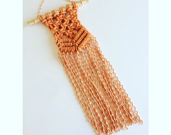 Mini Macrame Orange Wall Hanging.