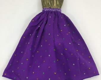 Barbie doll clothes, 1 of a kind Dress, Barbie clothes, Purple and Gold dress for Barbie