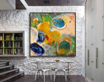 Abstract Acrylic Painting on Canvas. Large Hand Painted Square Colorful Modern Contemporary Art. Blue, Yellow, White & Green Painting