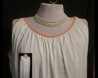 Tricot Vanity Fair White vintage nightgown with orange trim Medium USA soft and silky