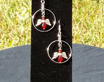 Angel Dangle Hoop Earrings