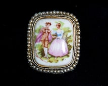 Rare Square Edwardian Victorian Style Porcelain Brooch of a Lady and Gent Signed Fragonard