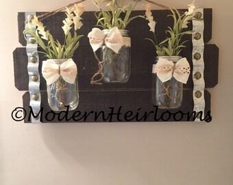 Rustic Mason and Floral Wall Hanging