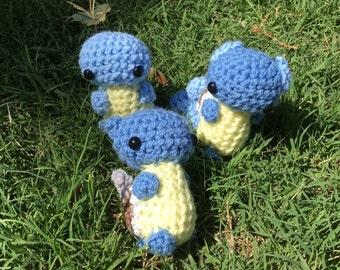 Set of three Squirtle Wartortle Blastoise evolutions pokemon go amigurumi crochet plushie plush stuffed animal toy starters chibi