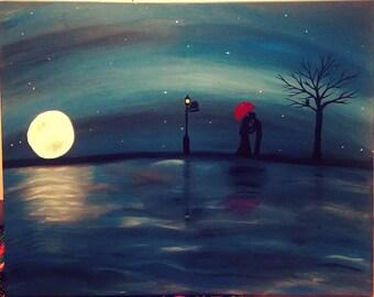 Acrylic night time painting