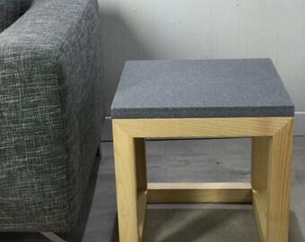 Design side table on quartz base of wood ash by workshop Bussière shop active