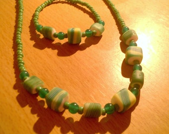 green stripy cube bead necklace and bracelet set