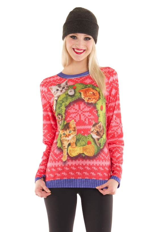 Cat Wreath lady lonely ugly tacky Merry Christmas Sweater Xmas X Mas Misletoe Santa Claus Baby Its Cold Outside Womens Long Sleeve T Shirt