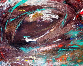 "Abstract painting on wood-""the eye"""