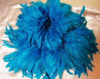 Terrific Turquoise rooster feathers , bulk, lot, wholesale, feather supply, hair extentions