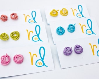 Multicoloured Squiggle stud earrings with surgical steel posts