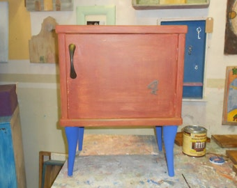 Rusty and blue nightstand