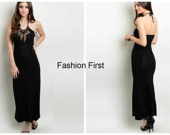 Black Maxi Dress W/ Necklace
