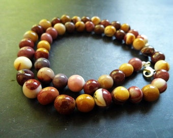 Necklace, Mookaite, Nuggets, Earth Tones, brown, beige