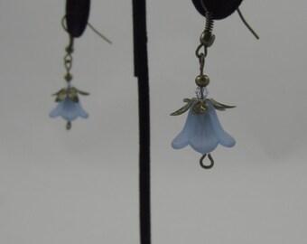 Faded Blue Tulip Dangling Earrings