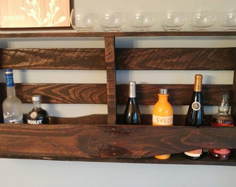Large pallet wood wine holder w/top shelf