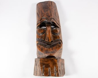 FREE SHIPPING: Vintage Carved Wood Tiki Mask - Polynesian Hand Carved Dark Wood Mask - Unique Tribal Sculpture