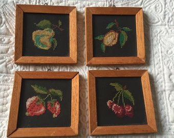 Four Vintage 1950s Embroidered Framed Fruit - Strawberry, Cherry, Apple, Apricot