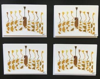 """Set of 4 Cards - Large """"Gingko Menorah"""" Card Prints"""