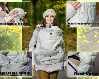 FREE SHIPPING/ Winter Autumn/ Tula/ Manduca/ Boba/ Pognae/ Ergo Baby Sling Wrap Baby Carrier Cover/ Hooded cover/ Creamy Weather Cover