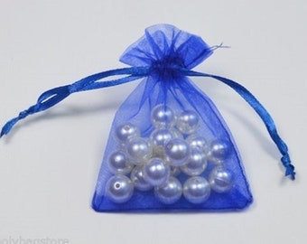 ROYAL BLUE - Organza Bags 7cm x 9cm For Wedding Favours, Jewellery, Gifts