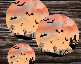 Halloween cupcake topper halloween printable  label halloween bats pumpkins moon tree  clouds tree cemetery mountains  mystical castle