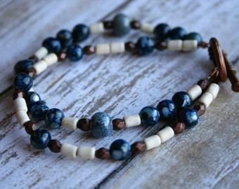 Two Strand Beaded Bracelet, Blue Beaded Bracelet, Copper Beaded Bracelet, Boho Beaded Bracelet, Rustic Beaded Bracelet, Ivory Bracelet