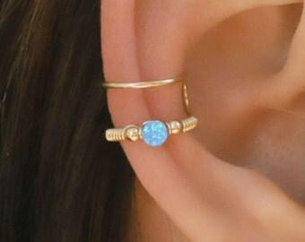 Cartilage Cuff, Blue Opal Ear Cuff, Ear Cuff, Fake Piercing, No Piercing, Double Cuff, Cartilage Cuff, Cuff
