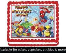 Super Hero Squad   Edible Image Cake Cupcake or Cookie Topper Birthday Party Decoration Icing Frosting Sheet