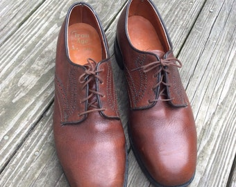 Men's Brown Leather Shoe's, size 9, Vintage, Goodyear, GT, Oil Chemigum Proof