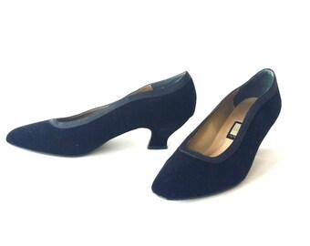 Black Velvet Pumps • Vintage Formal Low Heel Shoes for Wedding • Womens Size 7