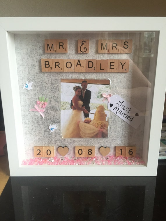 Wedding Gift Shadow Box : wedding gift, wedding shadow box art, mr and mrs wedding gift ...