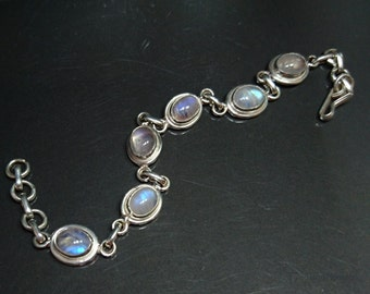 Rainbow Moonstone Sterling silver chain link bracelet, oval cabochon 6 white stones, June birthstone everyday jewelry for women.