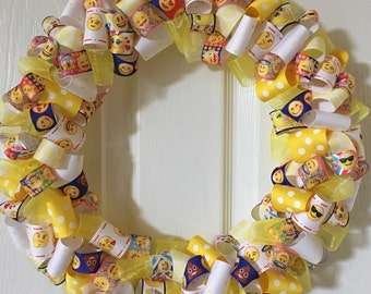 "PRICE REDUCED-14"" Emoji Ribbon Wreath--Ready to Ship"