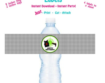 Printable Water Bottle Label Printable Laser Tag Birthday Party Water Bottle Label