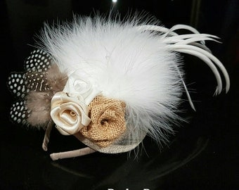 Burlap and satin flower fascinator with lvory and brown feathers and foam rose