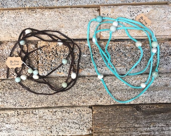 The Edgy Pearl Amazonite and Pearl Wrap