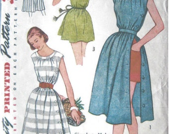 """1950s Vintage Sewing Pattern B32"""" BEACH STYLE DRESS, Cover-up (R724)  Simplicity 3894"""