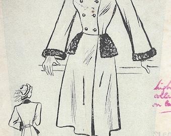 """1940s Vintage Sewing Pattern B34"""" COAT (R794) Weldons 1023"""