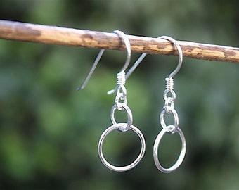 massive Silver earrings rings interlaced
