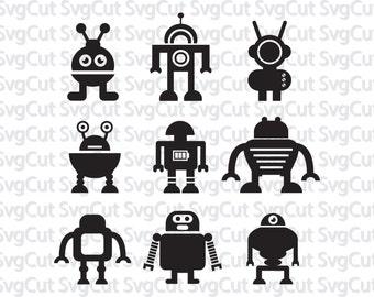 Future Svg, Robot Monogram, Cuttable Design SVG, DXF,   Silhouette Studio & Cricut, Vector Art, Vinyl Decal Digital Cutting Cut Files