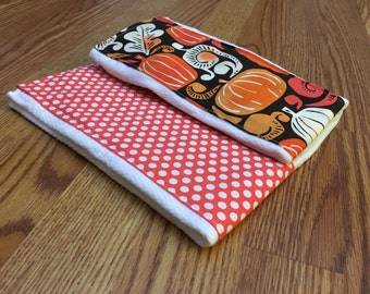 CLEARANCE*** Pumpkins and dots - Burp Cloths - Set of 2