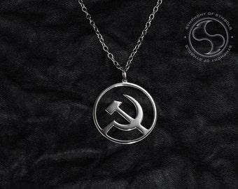 Hammer and Sickle Pendant Communist Symbol USSR Necklace Soviet Union Keychain Marxism Logo Communism Emblem Lenin Sign Revolution Medallion